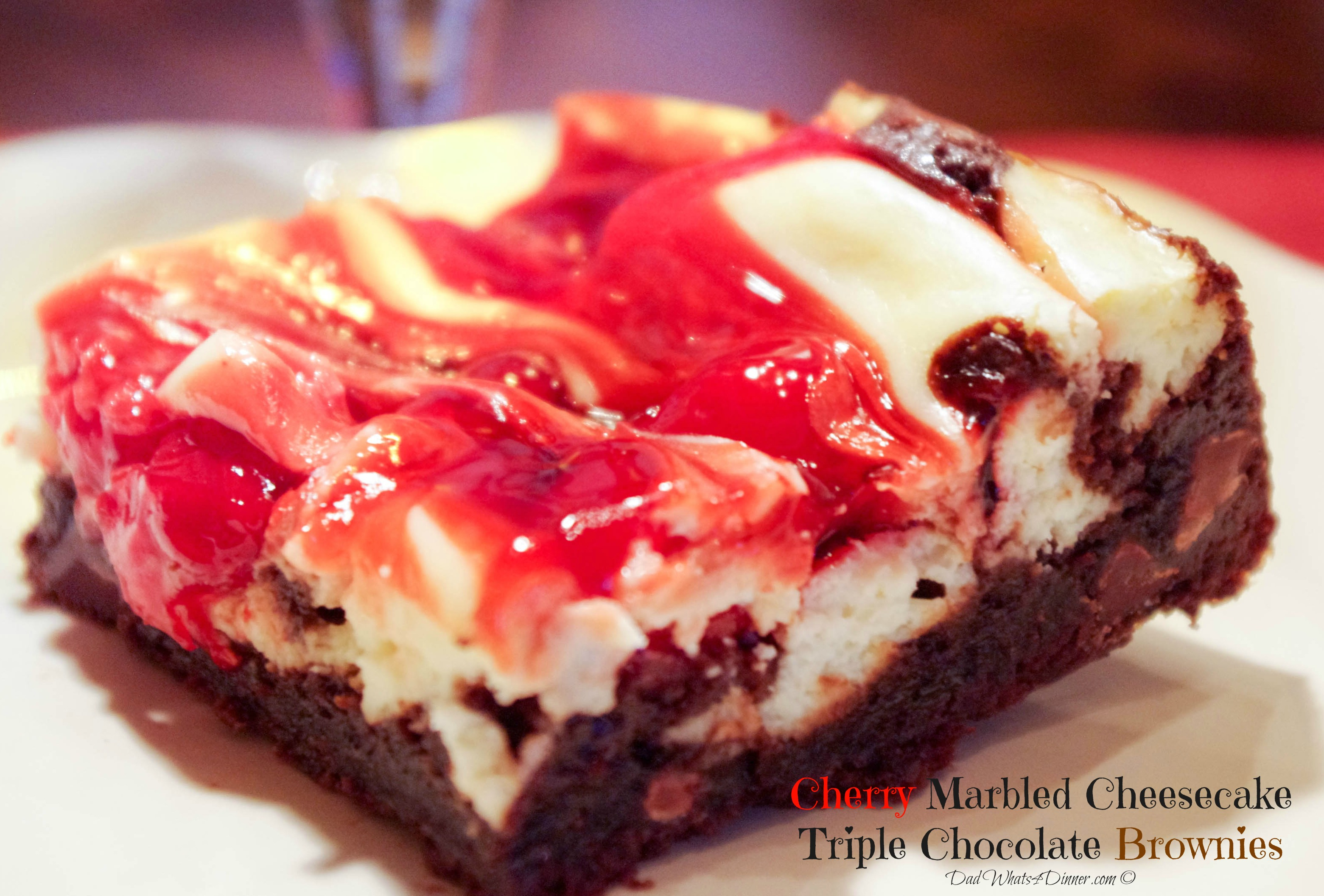 Cherry Marbled Cheesecake Triple Chocolate Brownies
