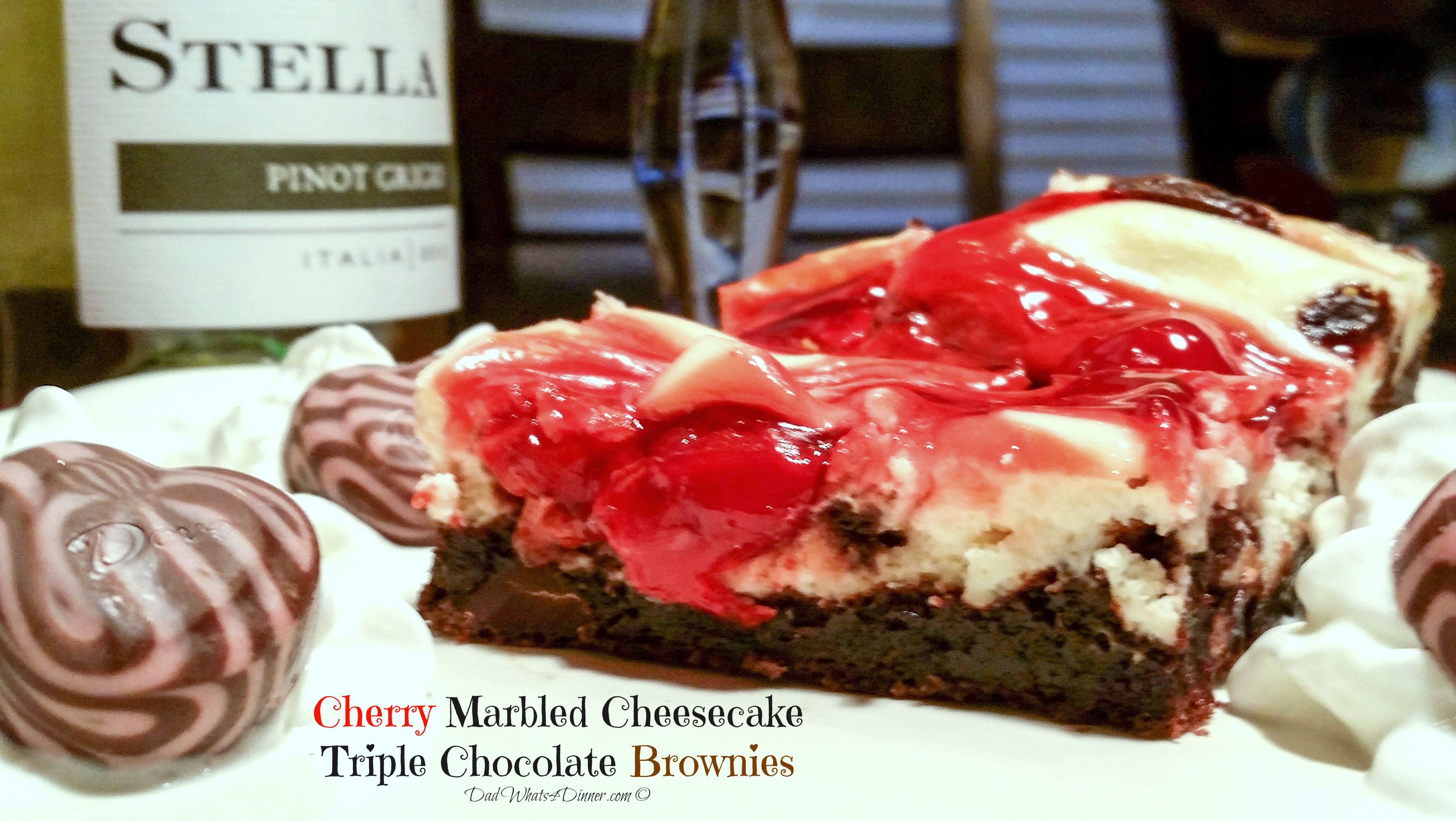 Cherry Marbled Cheesecake Triple Chocolate Brownies | www.dadwhats4dinner.com ©