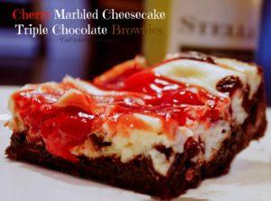 Cherry Marbled Cheesecake Triple Chocolate Brownies   www.dadwhats4dinner.com ©