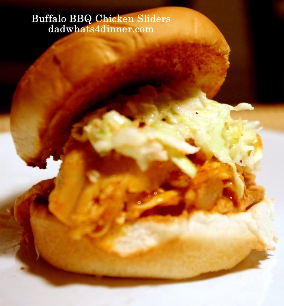 Buffalo BBQ Chicken Sliders with Ranch Slaw