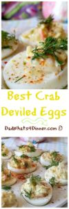 Does it get any better than the Best Crab Deviled Eggs for a great twist on a classic pot-luck staple!