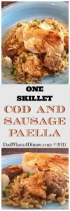 One Skillet Cod and Sausage Paella is a 40 minute dish, start to finish. Perfect for a Lenten meal just leave out the chorizo and add shrimp with the cod.