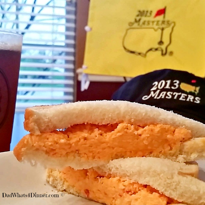 Southern Pimento Cheese Sandwich is a simple masterpiece of flavors. Perfect sandwich to eat while watching The Masters golf tournament.