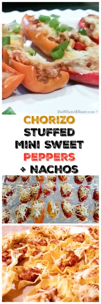 These Chorizo Stuffed Mini Sweet Peppers are the perfect appetizer for a summer night gathering with friends. Easy to make and not to spicy.
