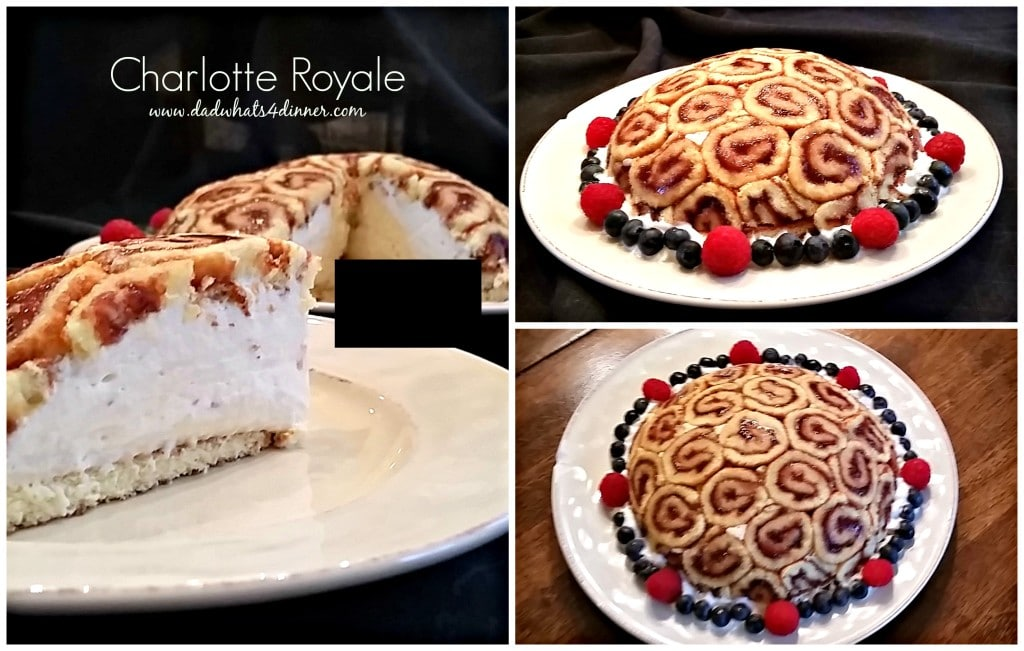 Charlotte Royale with raspberry jam filled with raspberry Kirsch Bavarian cream www.dadwhats4dinner.com