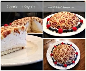 Charlotte Royale with raspberry jam filled with raspberry Kirsch Bavarian cream