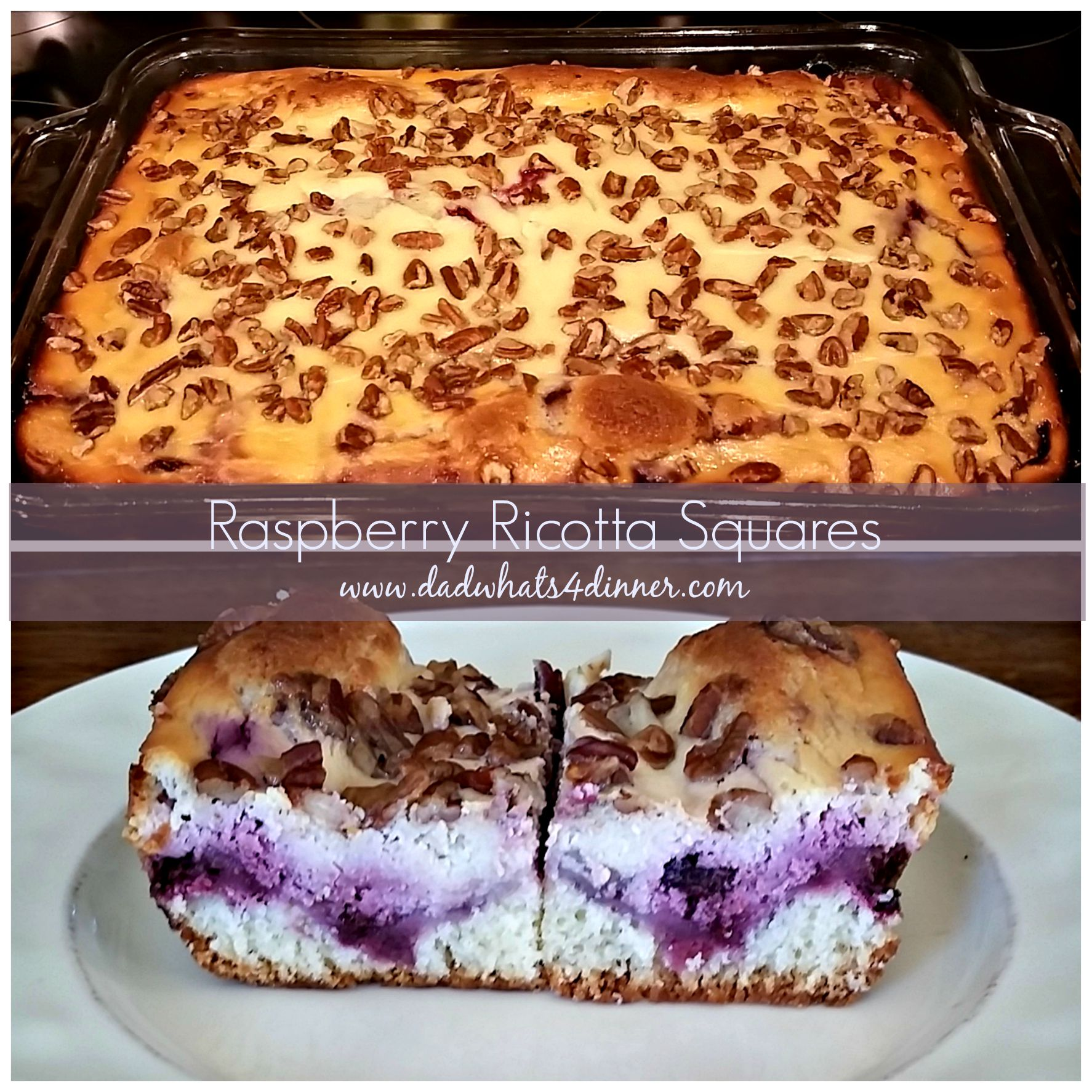 Must make Raspberry Ricotta Cheesecake Squares. You will think you are eating a slice of cheesecake made with fresh of the season raspberries.