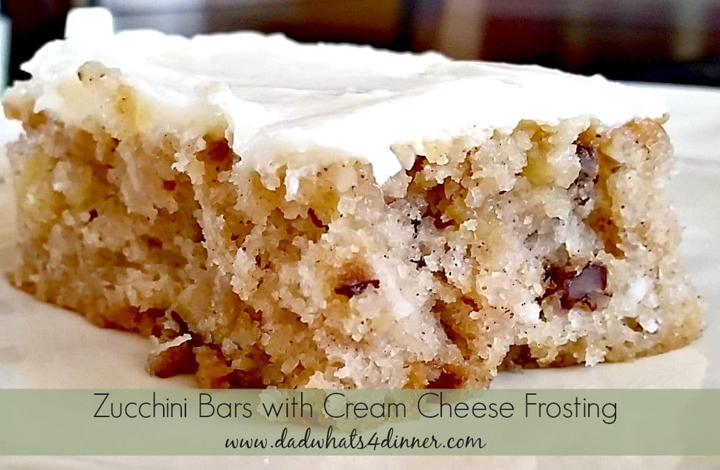 Zucchini Bars with Cream Cheese Frosting www.dadwhats4dinner.com