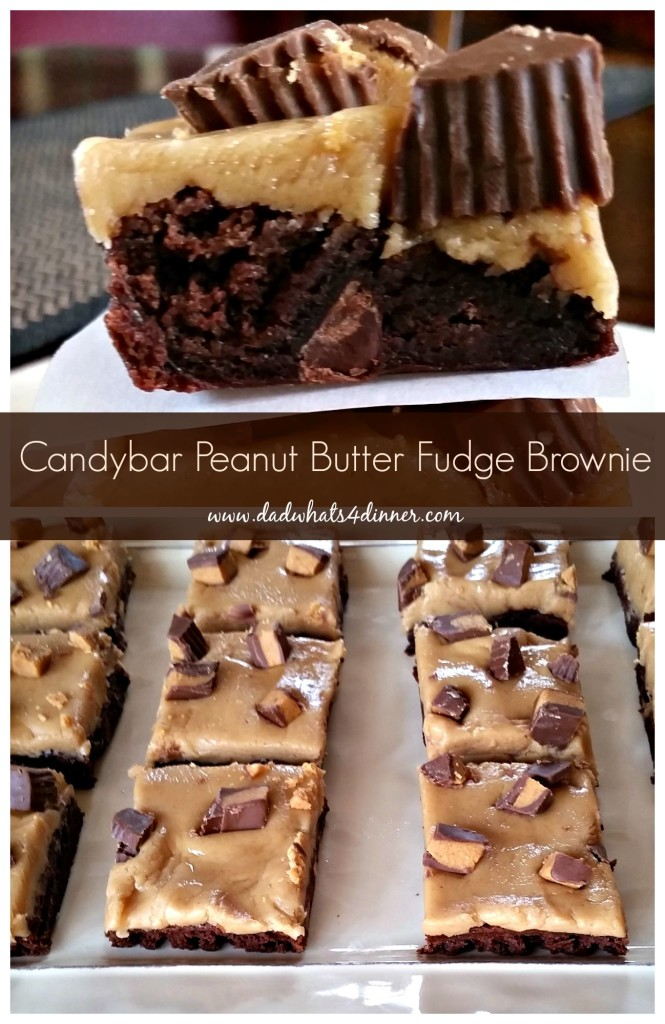 Candy Bar Peanut Butter Fudge Brownie www.dadwhats4inner.com