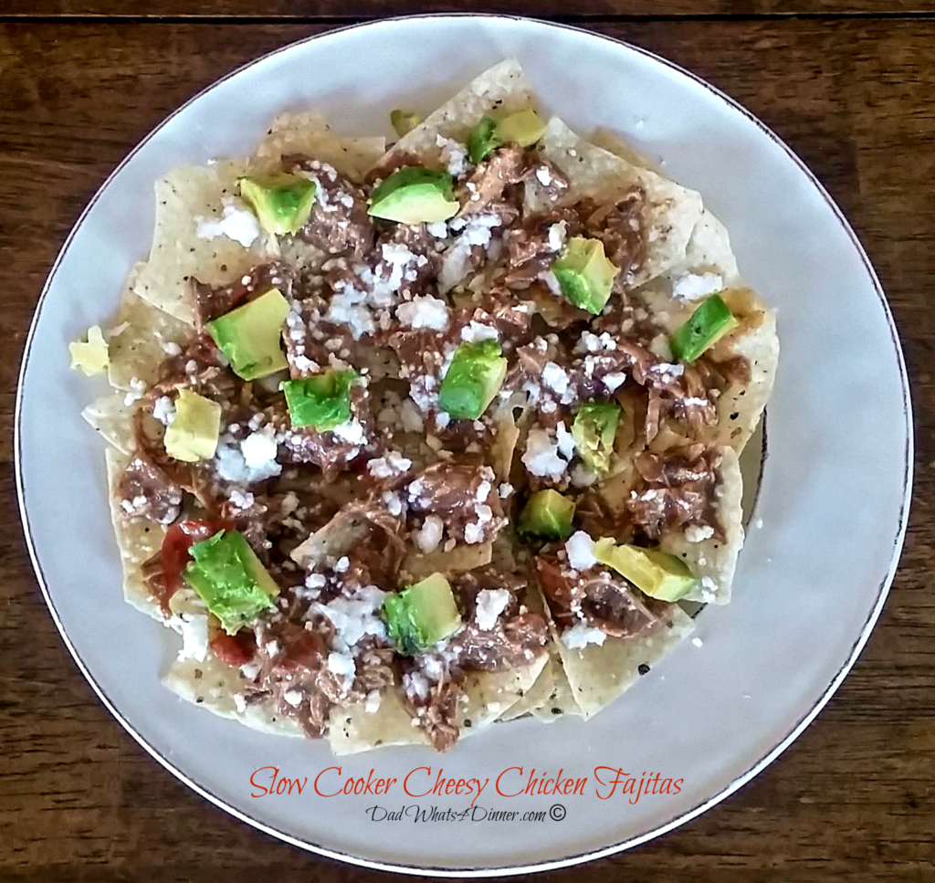 Slow Cooker Cheesy Chicken Fajitas | https://dadwhats4dinner.com