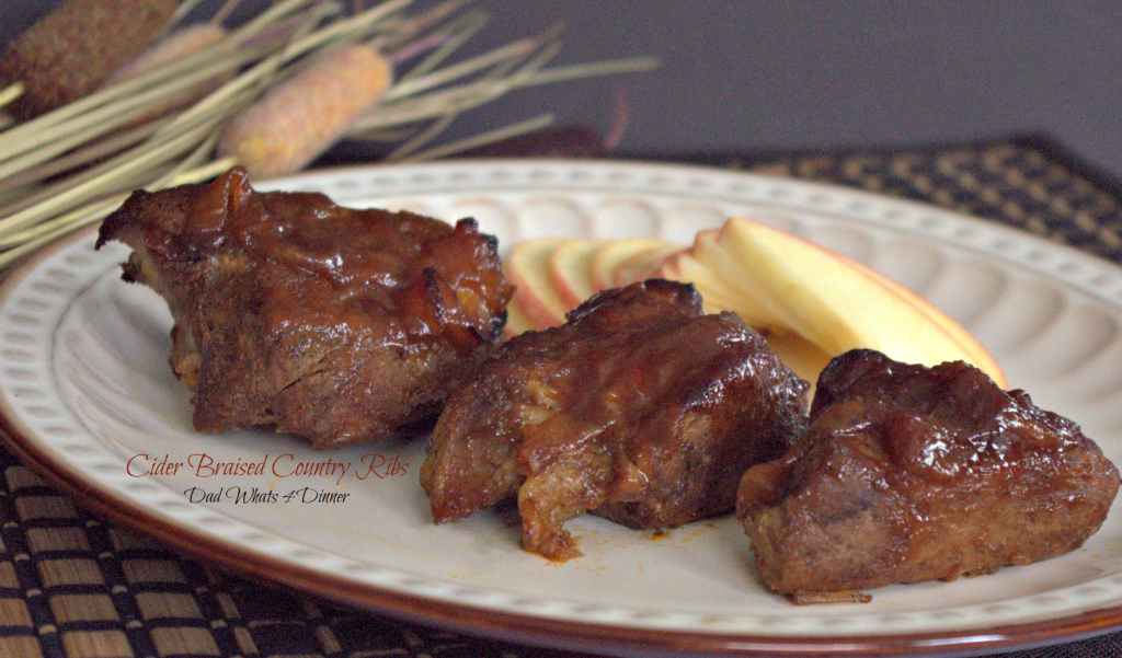 Melt in your mouth Cider Braised Country Ribs are perfect for Sunday dinner with leftovers for Monday lunch. Simple but impressive!