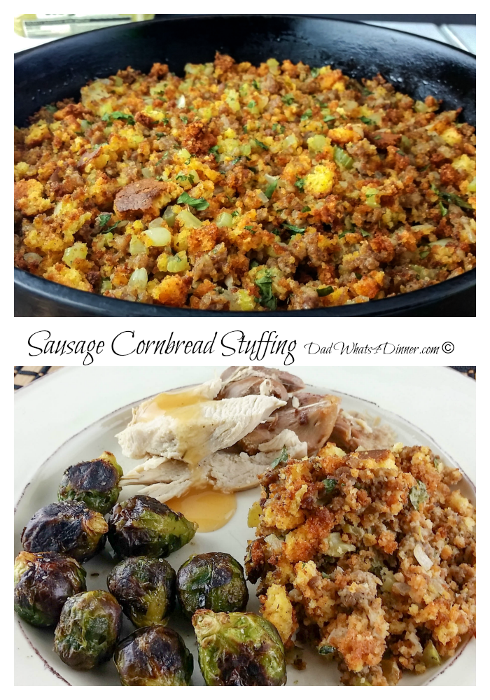My Sausage Cornbread Stuffing brings a traditional southern twist to your Thanksgiving Day meal. All the flavors of the season! | www.dadwhats4dinner.com