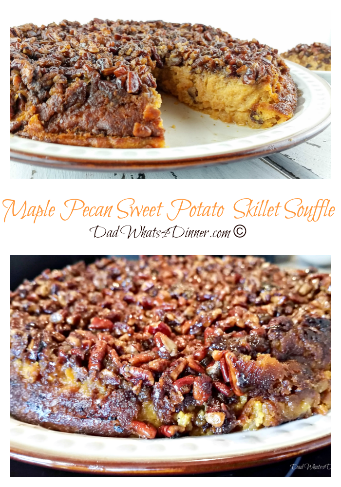 For a twist this Thanksgiving turn your sweet potato casserole into a Maple Pecan Sweet Potato Skillet Soufflé and it bakes it in a cast iron skillet.