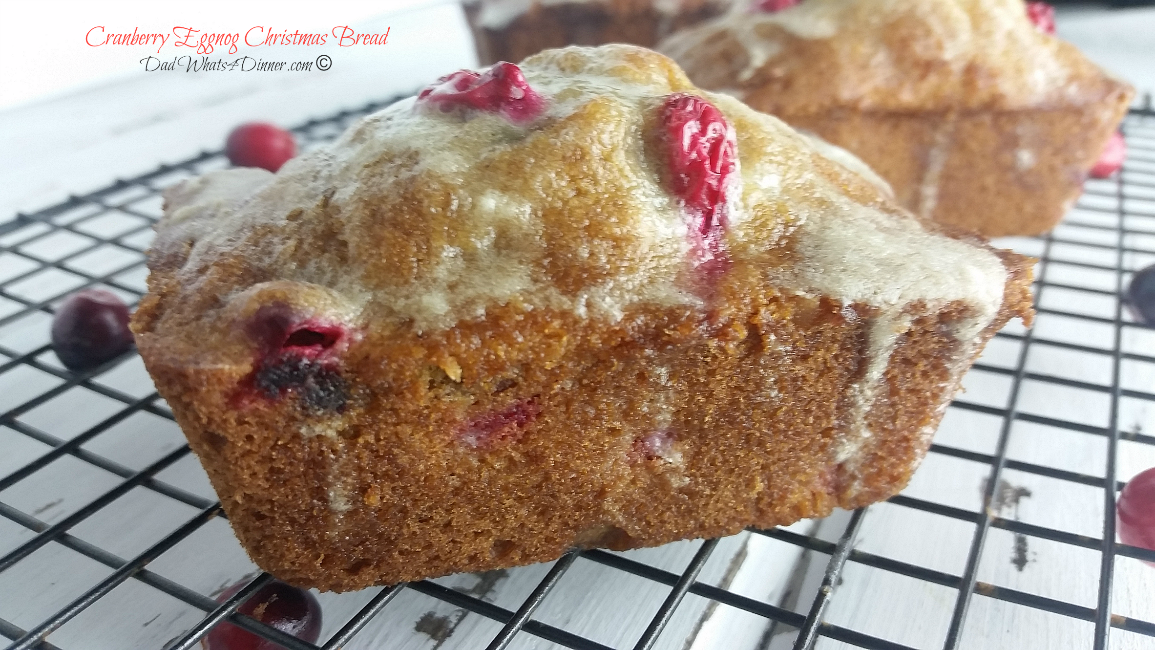 Cranberry Eggnog Christmas Bread | https://dadwhats4dinner.com/