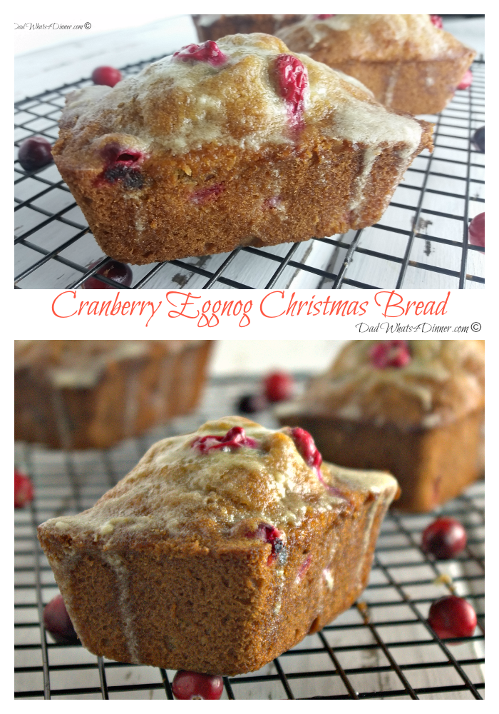 Eggnog Anyone!! My Cranberry Eggnog Christmas Bread brings you all the flavors of the season in a wonderful little bread!