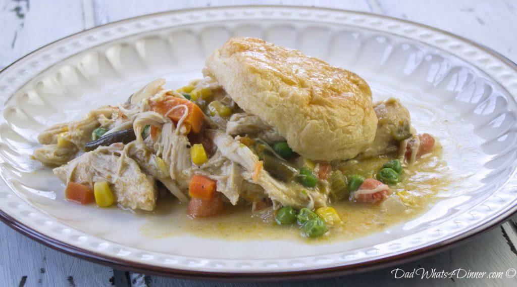 Healthy Slow Cooker Chicken Pot Pie   http://DadWhats4Dinner.com ©