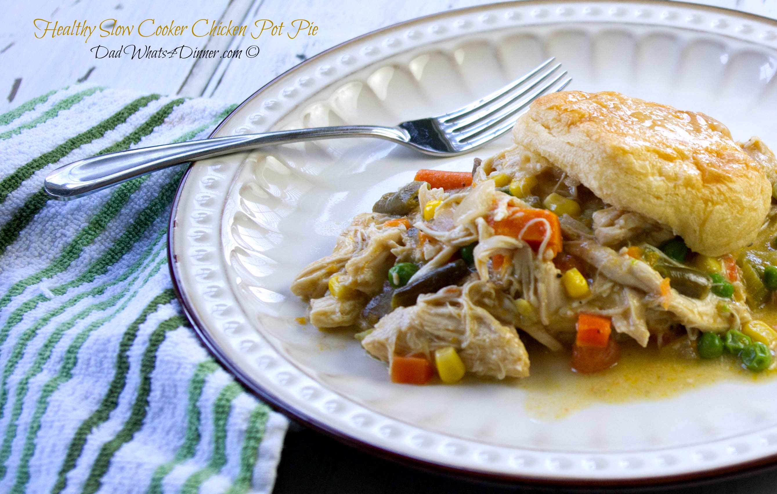 My Healthy Slow Cooker Chicken Pot Pie is a healthier slow cooker version of the comfort food classic. Easy to make with a healthy twist.