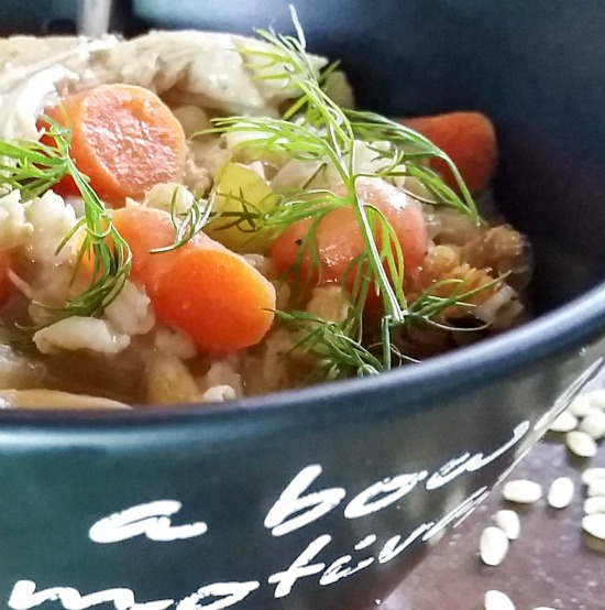 Panera Copycat Slow Cooker Creamy Chicken Barley Soup is perfect for a cold winter's day! Simple and healthy and easily made in the crock pot. | https://dadwhats4dinner.com