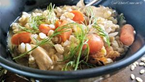 Slow Cooker Creamy Chicken Barley Soup | https://dadwhats4dinner.com