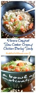 This must make Panera Copycat Slow Cooker Creamy Chicken Barley Soup is perfect for a cold winter's day! | https://dadwhats4dinner.com