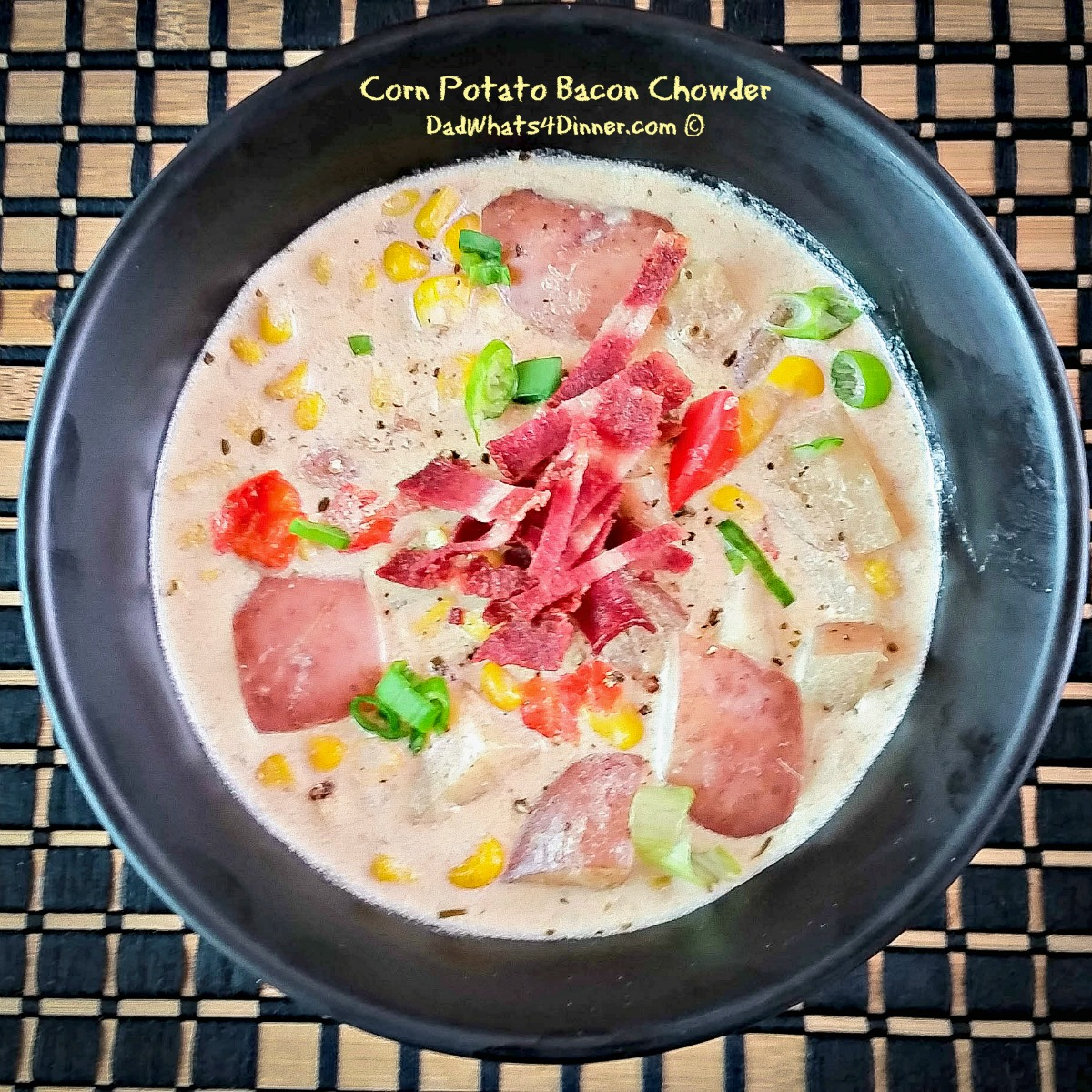 Corn Potato Bacon Chowder is a healthy version of the classic corn chowder. Bonus you can it in the slow cooker. Healthy and easy!