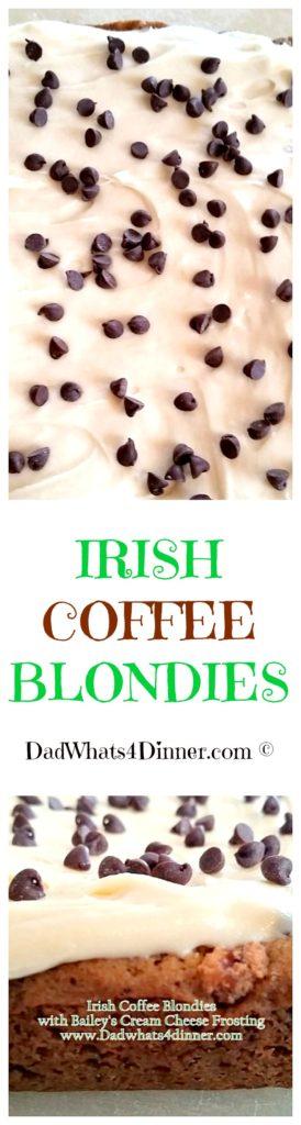 Irish Coffee Blondies are the perfect treat for St. Patrick's Day. Rich and thick with Bailey's Cream Cheese Frosting!