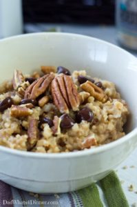 Derby Pie for Breakfast! Yes, sir with my Slow Cooker Overnight Derby Pie Oatmeal Recipe!