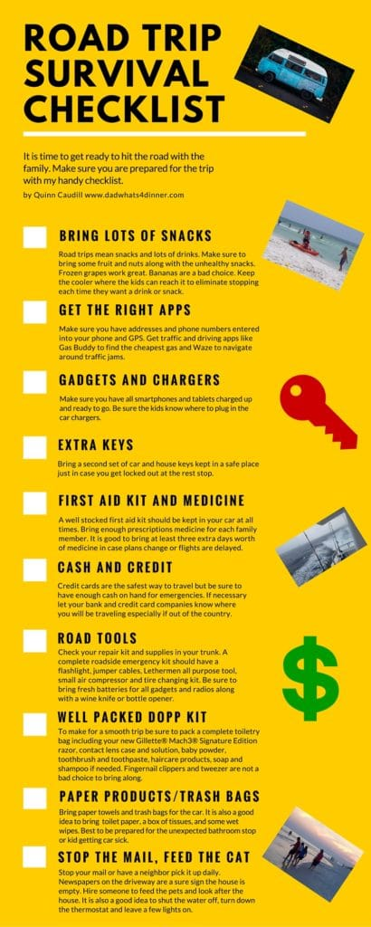 Family Road Trip Survival Checklist with Printable from www.dadwhats4dinner.com