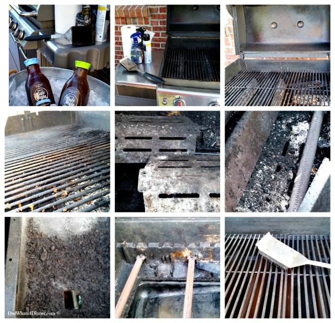 9 Images demonstrating how to clean a grill using my Grill Cleaning Guide