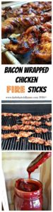 Bacon Wrapped Chicken Fire Sticks is a great grilled appetizer, perfect for summer time entertaining plus the best BBQ Sauce ever. www.dadwhats4dinner.com #grilled #bacon #chicken