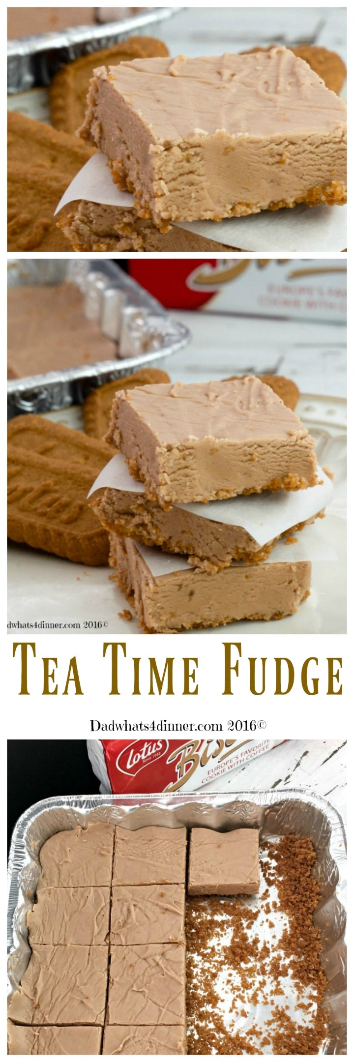 Tea Time Fudge combines a few of my favorite things. Peanut Butter, Chocolate and Biscoff Cookies to make a melt in your mouth, one of a kind fudge.