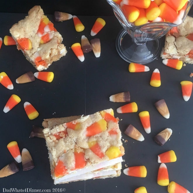If you are craving a PayDay Candy Bar then you will love my Peanut Butter Candy Corn Blondie Bars. Great way to use up leftover Halloween candy.