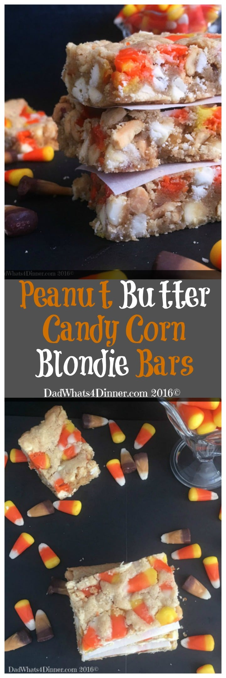 If you are craving a PayDay Candy Bar then you will love my Peanut Butter Candy Corn Blondie Bars. Great way to use up leftover Halloween candy. #candycorn #candy #bars #blondies #desserts #recipes #Halloween www.dadwhats4dinner.com