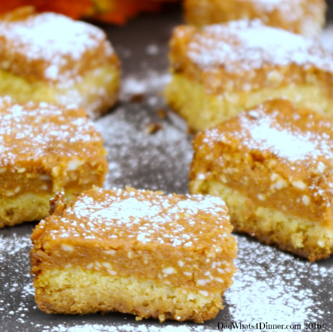 Pumpkin Chess Bars will be your go to dessert bars for Thanksgiving. Gooey and creamy with a nice crust is perfect for those who might not like pumpkin pie