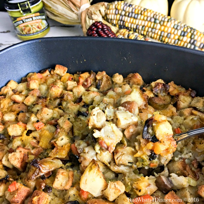 This Thanksgiving try a new twist on stuffing with this Bread Stuffing with Butternut Squash and Brussels Sprouts. Lots of veggies and full of flavor!