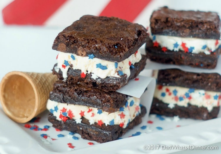 These Ghirardelli Brownie Ice Cream Sandwiches is the perfect treat for summer. Decadent triple chocolate brownies stuffed with cool vanilla ice cream!