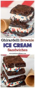 These Ghirardelli Brownie Ice Cream Sandwichesis the perfect treat for summer. Decadent triple chocolate brownies stuffed with cool vanilla ice cream! www.dadwhats4dinner.com