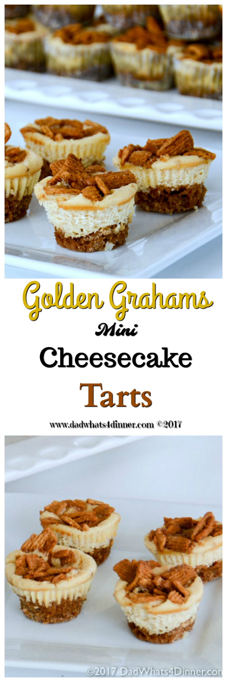 Golden Grahams Mini Cheesecake Tarts is a simple treat the kids can make Dad for Fathers Day. Mini cheesecake tarts made with dads favorite cereal. www.dadwhats4dinner.com #FathersDay #dessert #cheesecake #ad