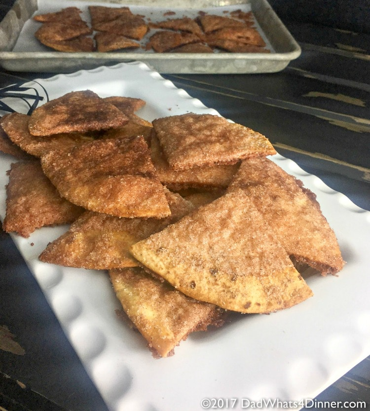 Baked Cinnamon Sugar Tortilla Chips is a healthier version of the Mexican restaurant classic. A great recipe to get your kids started in the kitchen.
