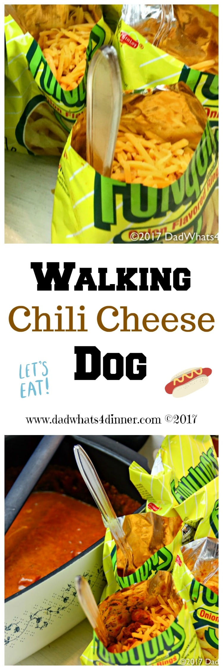 You will be the star at your next tailgate with this easy to makeWalking Chili Cheese Dog recipe. All the great Cheese Coney flavor, but no bun needed!  www.dadwhats4dinner.com #tailgatefood