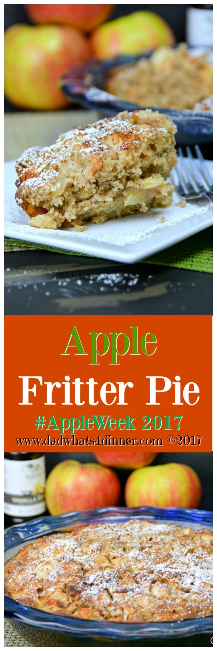 It's apple season and my Apple Fritter Pie will hit the spot. All the great taste of apple fritters but easily baked in a pie pan.www.dadwhats4dinner.com #spon #AppleWeek2017 #Fall #Apples #applepie