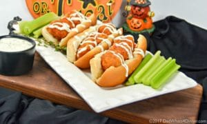 Try these Boneless Buffalo Chicken Sliders with Creamy Ranch Sauce for a quick and simple trick or treat night snack you can make with your kids.