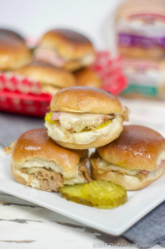 When you want a change from the ordinary hamburger slider, try these Instant Pot Cuban Sliders, sure to be a game day winner. All the flavor of a great Cuban including fall off the bone pork shoulder, ham, swiss cheese, pickles, mustard, on a Pepperidge Farm® soft slider bun.