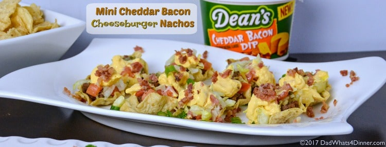 When you are craving the flavors of a cheeseburger but want finger foods instead then my Mini Cheddar Bacon Cheeseburger Nachos is sure to please. The perfect appetizer for the Big Game.