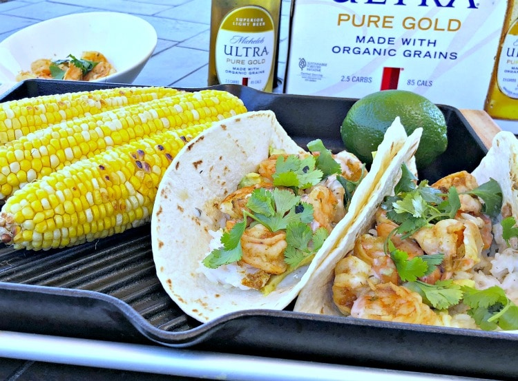 These healthyGrilled Chipotle Beer and Shrimp Tacos with avocado and rice are full of smokey spicy flavor and perfect for a light lunch when working outdoors in the summer.