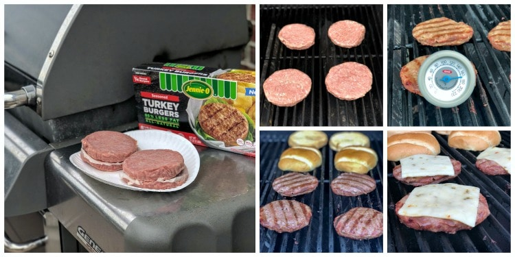 Images of Firecracker Grilled Turkey Burgers on the grill.
